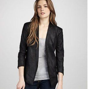 Anthropologie CAPULET Black Faux Leather Blazer XS